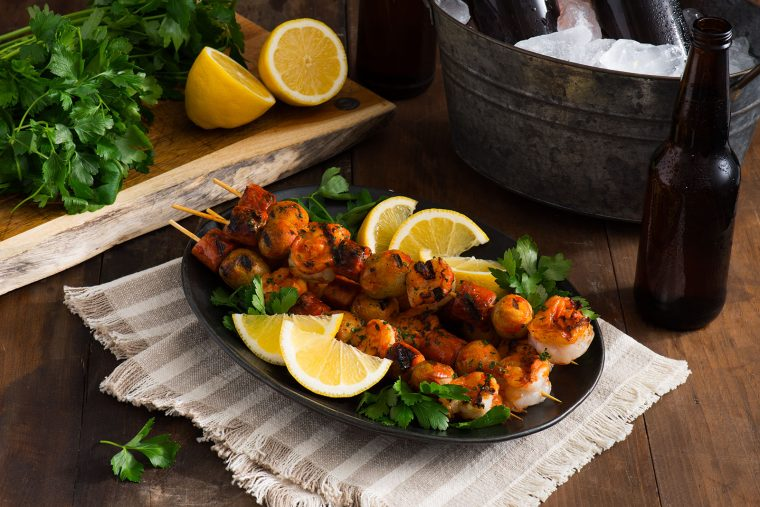 piri piri sausage and shrimp skewers featuring scott pete sausage