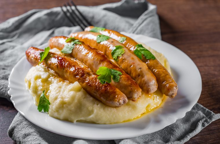 recipe example of bangers and mash featuring scott pete sausages